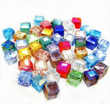 50Pcs Faceted Square Cube Glass Crystal Loose Spacer Beads Charm Finding 6mm