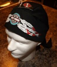 GENUINE HARLEY DAVIDSON BLACK SKULL CAP DOO DU DO RAG EAGLE FEATHERS HEADWRAP!