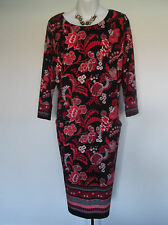 NEW with TAG  M&Co  Red/Black Abstract Floral Design  Pencil Dress  18