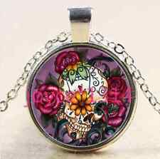 Sugar Flower Skull Cabochon Tibetan silver Glass Chain Pendant Necklace #2480