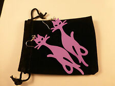 Super Stylish & Fun Large Ladies Purple Jazz Cats Earrings + Free Bag Fab Gift