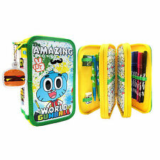 Official Licenced The Amazing World of Gumball Glitter Triple Pencil Case Set