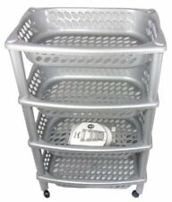 H QUALITY 4TIER GREY KITCHEN FRUIT VEGETABLE STORAGE TROLLEY PLASTIC WITH WHEELS