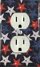 Decorative Single Outlet Wall Plate Red White Blue American Stars Country Decor