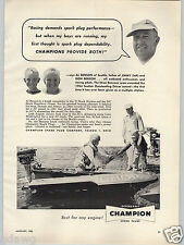 1955 PAPER AD Champion Spark Plugs Al Jimmy Don Benson Mercury Outboard Motor