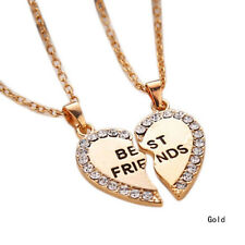 For Your Best Friend Gift Friendship Heart Love Crystal Pair Pendants Necklace