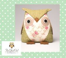 SASS AND BELLE BEAUTIFUL OWL FABRIC SHABBY CHIC DOOR STOP VINTAGE DESIGN GIFT