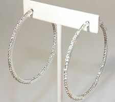 "eli k SILVER PLATE & CLEAR CRYSTALS INSIDE/OUT LARGE 3 3/8"" HOOP EARRINGS"
