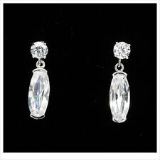 18K W GP Gold Plated Drop Dangle Earring Cubic Zirco Clear Jewel Costume New 300