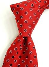 NWT HUGO BOSS Red Silk Neck Tie w/ Woven Silver Red & Blue Medallions ITALY