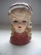"Vintage 6"" Christmas Head Vase Headvase Planter Japan Lady Clover Mark"