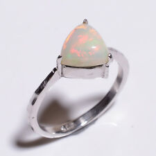 Natural Ethiopian Opal 925 Solid Sterling Silver Ring Gemstone Jewelry Size 7
