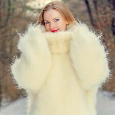 SUPERTANYA Hand Knitted Mohair Sweater Ivory MEGA THICK Heavy Pullover 10strands