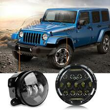 "Kit LED Headlight 7"" Cree With 4"" Fog Passing Black Light For Jeep Wrangler JK"