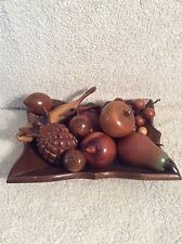 Vintage Wood Bowl With Decorative Wooden Fruit Hand Carved-Banana, Apple, Grapes