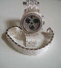 DESIGNER MEN'S GENEVA SILVER FINISH HIP HOP BLING RAPPER STYLE WATCH/BRACELET