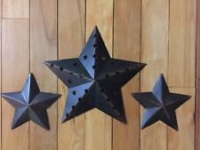 Set of 3 Country Star Wall Light With Remote Cowboy Western Rustic Wall Stars