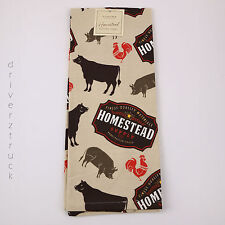 SONOMA Homestead KITCHEN TOWEL Farm Animal COW PIG ROOSTER PRINT Brown Black Red