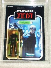 Vintage Star Wars 1983 AFA 80/85/90 LUKE SKYWALKER JEDI KNIGHT ROTJ Back MOC UNP