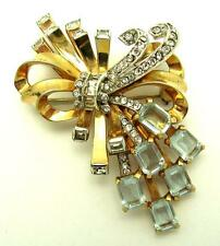 Vintage MAZER Bouquet and Bow Brooch Crystal Rhinestones 18k Gold Plate