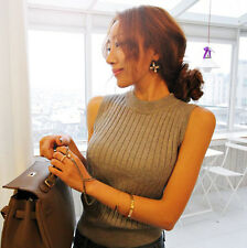 New Fashion Women Polo Neck Top Stretch Sleeveless Turtle Neck Knit Vest Jumper