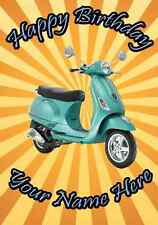Vespa Scooter Happy Birthday A5 Personalised Card pid356 Mum Dad Friend ANY NAME