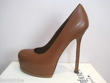 YSL Yves Saint Laurent Tribtoo 105 Nappa Cognac Pumps Shoes Heels 35.5 5.5 $795