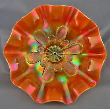 "CARNIVAL GLASS - DUGAN STIPPLED PETALS Peach Opalescent 9"" SQUARE-RUFFLE Bowl"