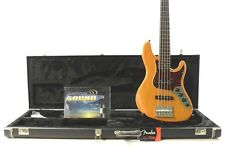 2006 Fender American Deluxe Jazz Bass V 5-String - Amber w/ New Fender Case