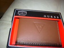 GUESS MEN'S BIFOLD TAN GENUINE LEATHER PASSCASE WALLET BILLFOLD MSRP $32.50 NWT