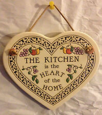 Ceramic Heart Plaque - The Kichen is the Heart of the Home - Trinity Pottery