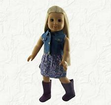 Doll Clothes Floral Dress with Denim Vest and Boots Fit 18 inch American Girl