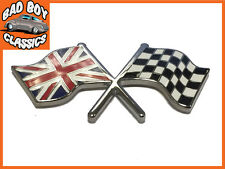 Chequered Flag / Union Jack Enamel Badge Emblem MG, Classic Mini, Ford, Triumph