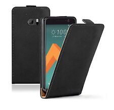 SLIM BLACK Leather Flip Case Cover Pouch For HTC 10 (+2 FILMS)