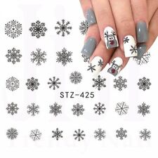 Nail Art Water Decals Stickers Christmas Grey Black Snowflakes Reindeers (425GB)