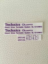 Adesivi Stickers Color Viola Purple Per Technics Sl 1210 Mk2 Coppia-pair