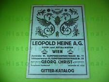Alter GITTER-KATALOG LEOPOLD HEINE A.G. EISEN- und METALLWAREN WIEN; Jugendstil