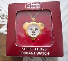 """STEIFF TEDDYS PENDANT WATCH 1.25"""" DIA ISSUED 1993 GERMANY NIB W/ 24"""" CHAIN"""