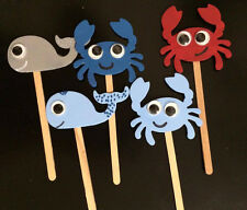 Handcrafted Nautical Crab Whale Cake Toppers- Photo Booth Props Decoration 12pcs