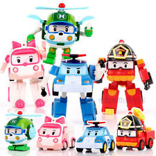 "4 Sets Models 5"" ROBOCAR Poli Cartoon Action Figure Toy Transformer Robot Car"