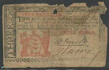 Colonial Currency Nj-212 3 Shillings Vg May 17,1786 - Rare - Hv9740