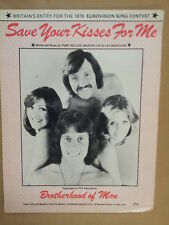 song sheet SAVE YOUR KISSES FOR ME Brotherhood of Man 1976