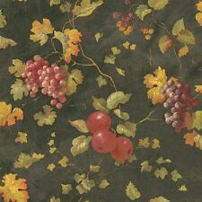 Wallpaper Fruit Apples Berries & Grapes Vine With Ivy on Black & Gold Crackle
