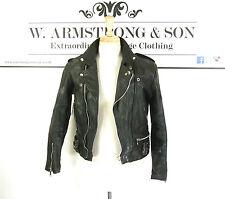 Men's Vintage 70s Nero Vera Pelle Da Motociclista Giacca da moto Punk Teschio Regno Unito S