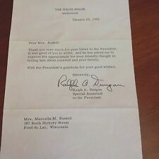 historic letter from RALPH A. DUNGAN - SPECIAL ASSISTANT TO J.F.KENNEDY - 1962