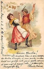 B2585 Hungary Litho Folklore Danse Csardas PPC 1901 front/back scan