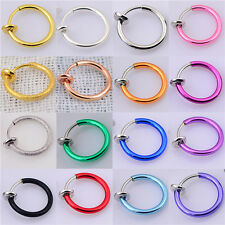 Fake Clip On Spring Nose Hoop Ring Ear Septum Lip Eyebrow Earrings Piercing