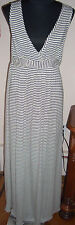 NOM Maxi Maternity Nursing Jersey Long STRIPED Dress Size L