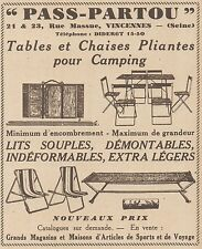 Z8361 PASS-PARTOU - Tables - Lits - Pubblicità d'epoca - 1933 Old advertising