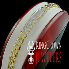 Mens Genuine Diamond Solid 14K Yellow Gold Finish Miami Cuban Link Bracelet 10mm